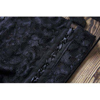 Sexy Lace Crop Top and High Waisted Shorts Women's Suit - BLACK 2XL