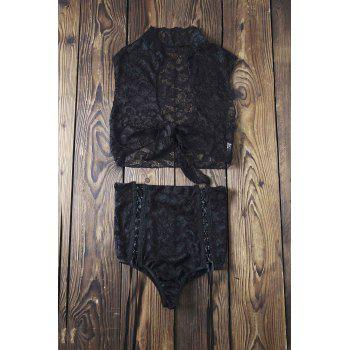 Sexy Lace Crop Top and High Waisted Shorts Women's Suit