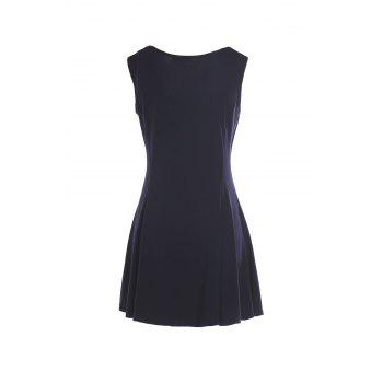 Skater Dress with Sweetheart Neck - PURPLISH BLUE L