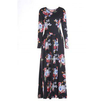 Long Sleeve Maxi Floral Print Dress - BLACK XL