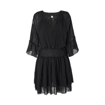 Stylish V-Neck Flare Sleeve Layered Elastic Waist Plus Size Women's Chiffon Dress