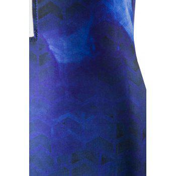 Stylish Round Neck Feather Print One-Piece Women's Swimwear - PURPLISH BLUE XL