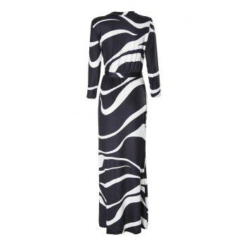 Stylish Plunging Neck 3/4 Sleeve Black and White Women's Maxi Dress - WHITE/BLACK M