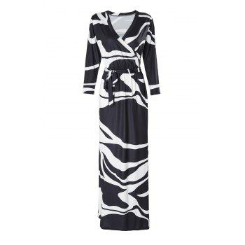 Stylish Plunging Neck 3/4 Sleeve Black and White Women's Maxi Dress - WHITE AND BLACK WHITE/BLACK