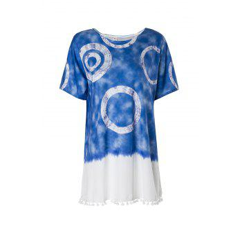 Casual Round Neck Short Sleeve Color Block Women's Straight Dress - BLUE BLUE