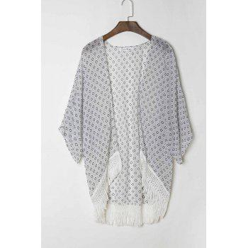 Stylish Collarless 3/4 Sleeve Polka Dot Print Women's Kimono - WHITE L