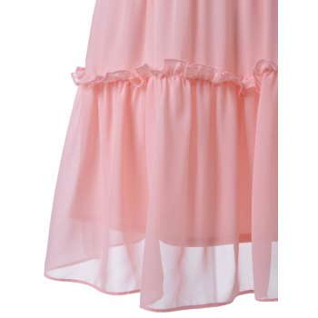Sweet Women's Fitted Ruffle Neck Solid Color Knee-Length Dress - LIGHT PINK M