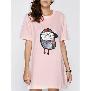 Chic Short Sleeve Round Neck Animal Pattern Women's Dress