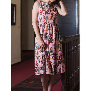 Vintage Printed Sleeveless High Waist Pleated Dress For Women