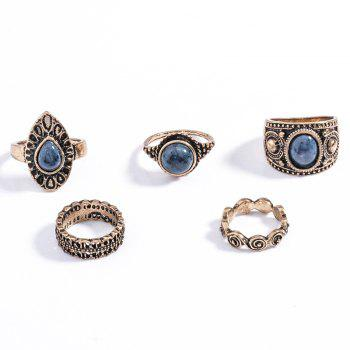 5 Pcs/Set Faux Gem Embossed Rose Rings