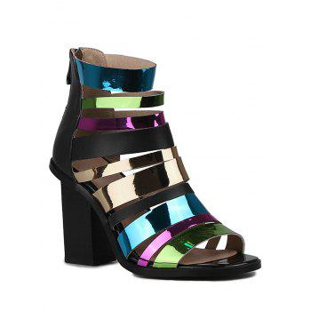Stylish Colorful Straps and Chunky Heel Design Sandals For Women