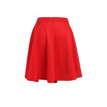 Stylish High-Waisted Ruffled A-Line Women's Red Midi Skirt