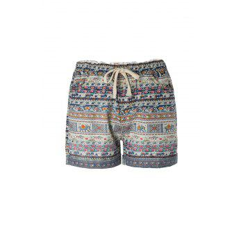 Ethnic Style Tiny Floral Elephant Print Shorts For Women