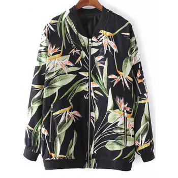 Stylish Stand Neck Long Sleeve Tropical Print Women's Jacket