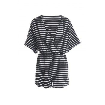 Fashionable Deep V Neck Stripes Short Sleeve Playsuit For Women