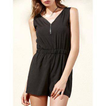 Trendy Sleeveless Zip Up Women's Romper