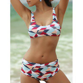 Stylish Women's Scoop Neck Colorized Rhombus Print Bikini Set