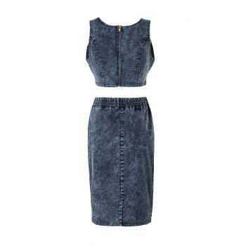 Denim Crop Top and Bodycon Drawstring Skirt - L L