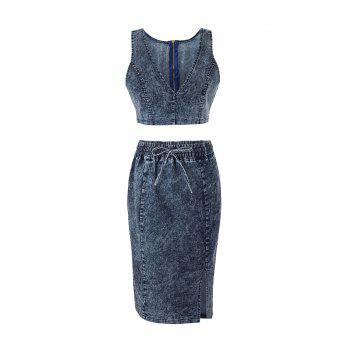 Denim Crop Top and Bodycon Drawstring Skirt - DENIM BLUE L
