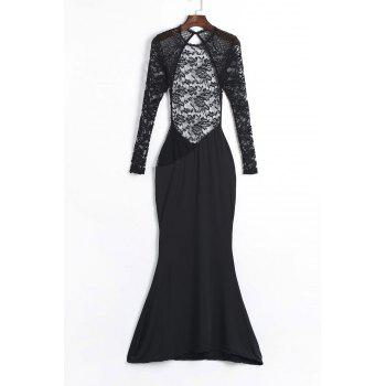 Charming Black See-Through Hollow Out Lace Spliced Backless Dress For Women