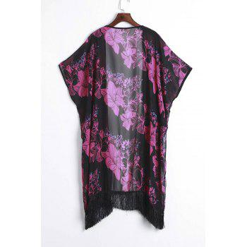 Retro Style Floral Printed Tassel Hem Loose Kimono For Women - BLACK/ROSE RED 3XL