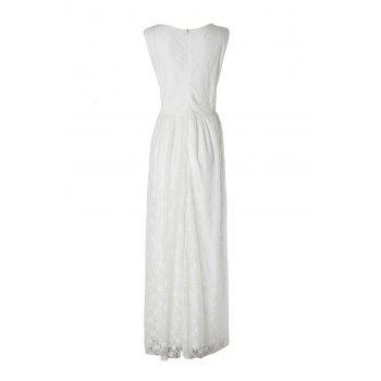 Sleeveless V-Neck Lace Plus Size Princess Dress - WHITE WHITE
