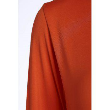 Endearing Candy Color Long Sleeve Straight Chiffon Dress For Women - ORANGE M
