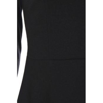 Stylish Round Neck Long Sleeve Voile Spliced A-Line Women's Dress - BLACK M