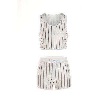 Sexy Striped Hooded Short Tank Top+ Shorts Sport Suit For Women - WHITE S
