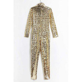 Fashion Plunging Neck 3/4 Sleeve Hollow Solid Color Out Jumpsuit For Women - GOLDEN ONE SIZE(FIT SIZE XS TO M)