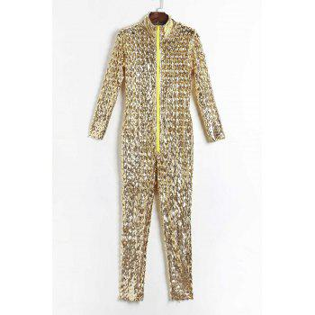 Fashion Plunging Neck 3/4 Sleeve Hollow Solid Color Out Jumpsuit For Women - GOLDEN GOLDEN
