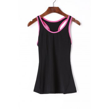 Stylish Scoop Neck Stretchy Women's Yoga Tank Top - BLACK AND ROSE RED BLACK/ROSE RED