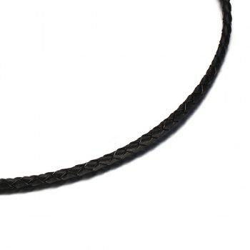Faux Leather Braided Necklace - BLACK