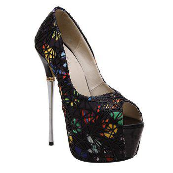 Stylish Chain and Butterfly Pattern Design Women's Peep Toe Shoes - BLACK BLACK