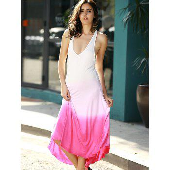Open Back Ombre Tea Length Dress - ROSE XL