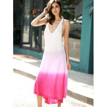 Open Back Ombre Tea Length Dress - ROSE M