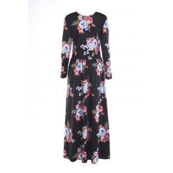 Long Sleeve Maxi Floral Print Dress - BLACK M