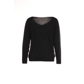 Fashionable Letter Printed Skew Neck Long Sleeve T-Shirt For Women - BLACK M