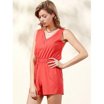 Trendy Sleeveless Zip Up Women's Romper - ORANGE RED M