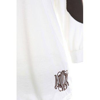 Casual V-Neck Letter Embroidery Long Sleeve Women's T-Shirt - WHITE XL