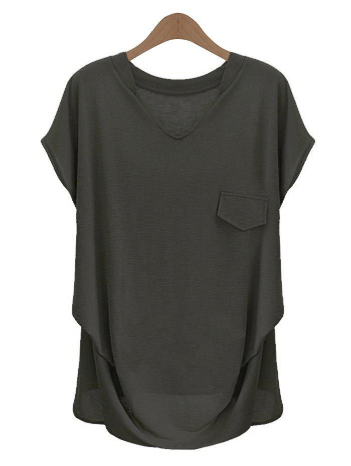 Fashionable plus size solid color v neck t shirt for women for Plain colored v neck t shirts