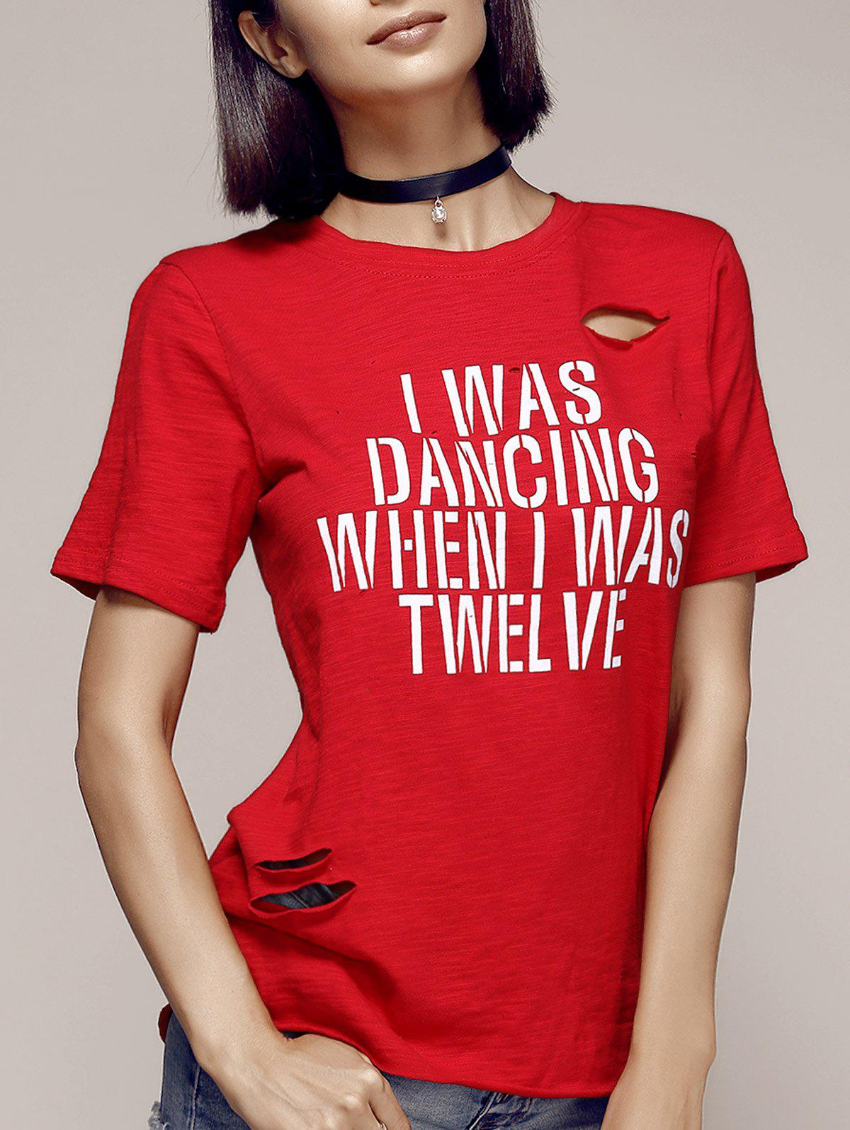 Stylish Women's Round Neck Cut Out Letter Pattern Short Sleeve T-Shirt - RED ONE SIZE(FIT SIZE XS TO M)
