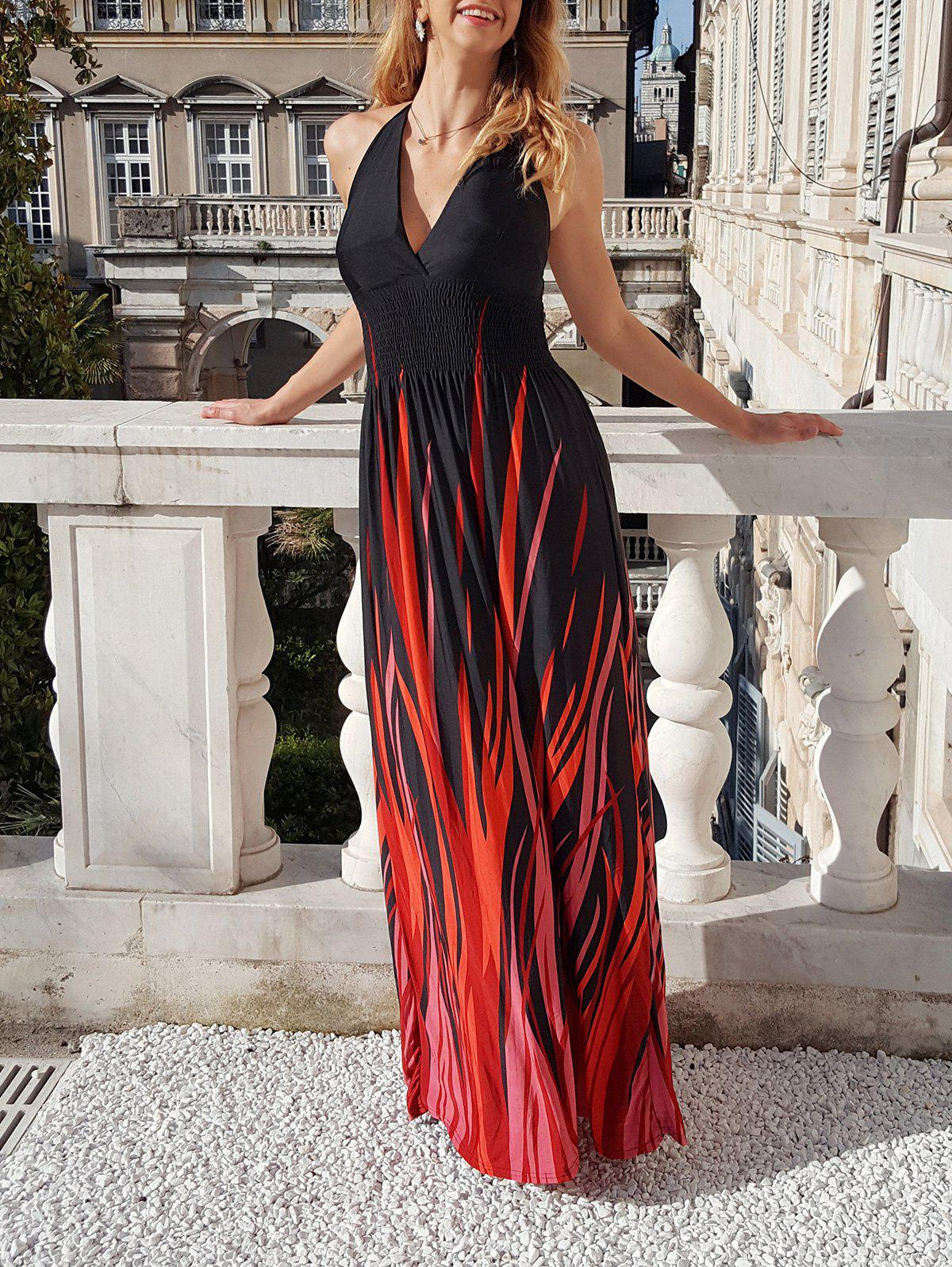 Sexy Halter Neck Sleeveless Ombre Plus Size Women's Prom Dress - RED/BLACK 7XL