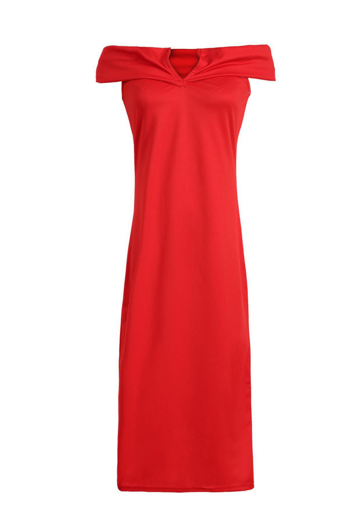 OL Style Off The Shoulder Red Dress For Women ol