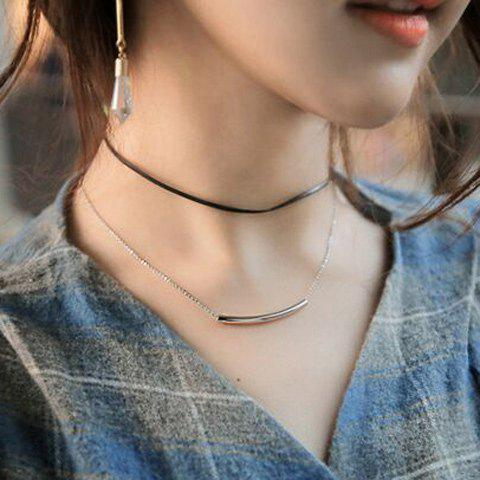 Double Layered Geometric Choker Necklace - SILVER