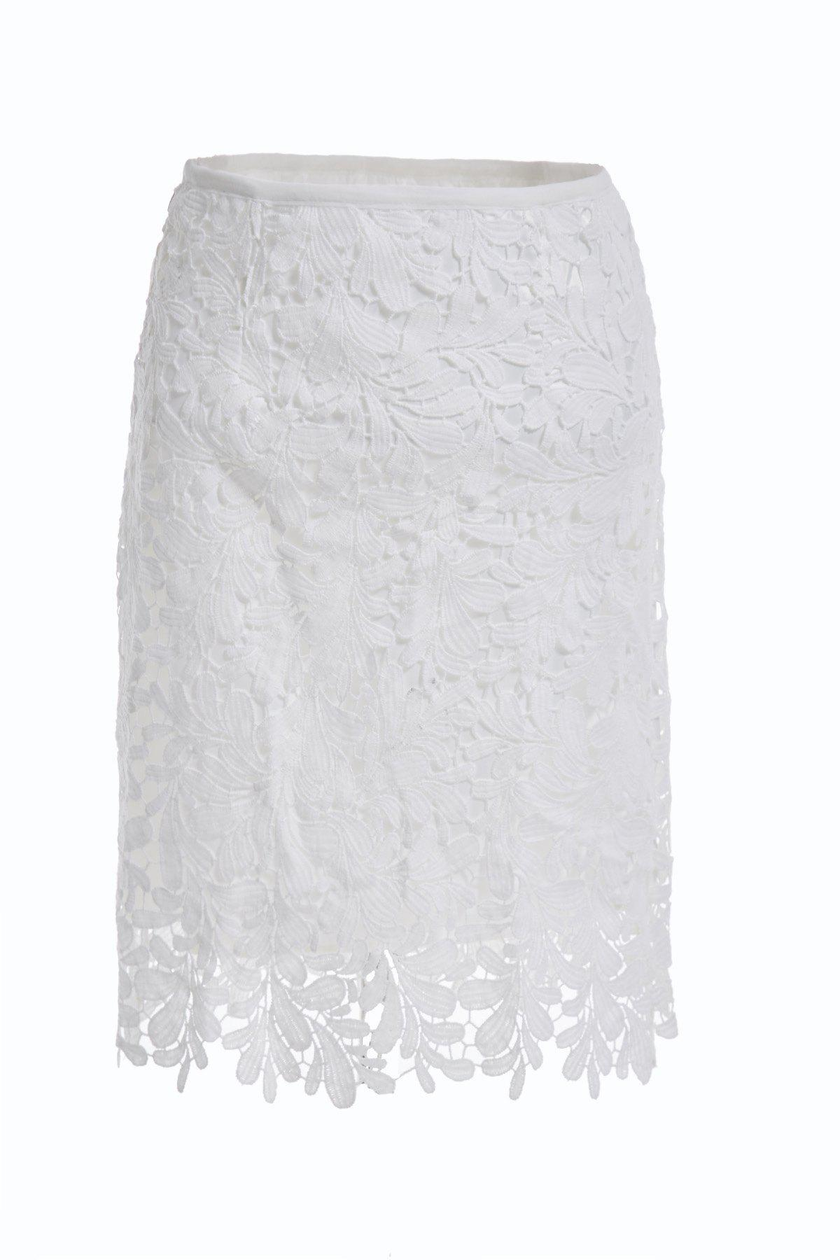 Elegant High Waist Cut Out Solid Color Lace Skirt For Women - WHITE M