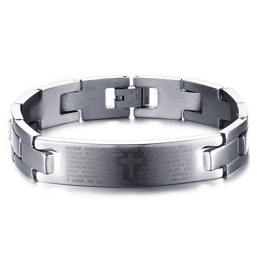 Cross Chains Scripture Bracelet - SILVER