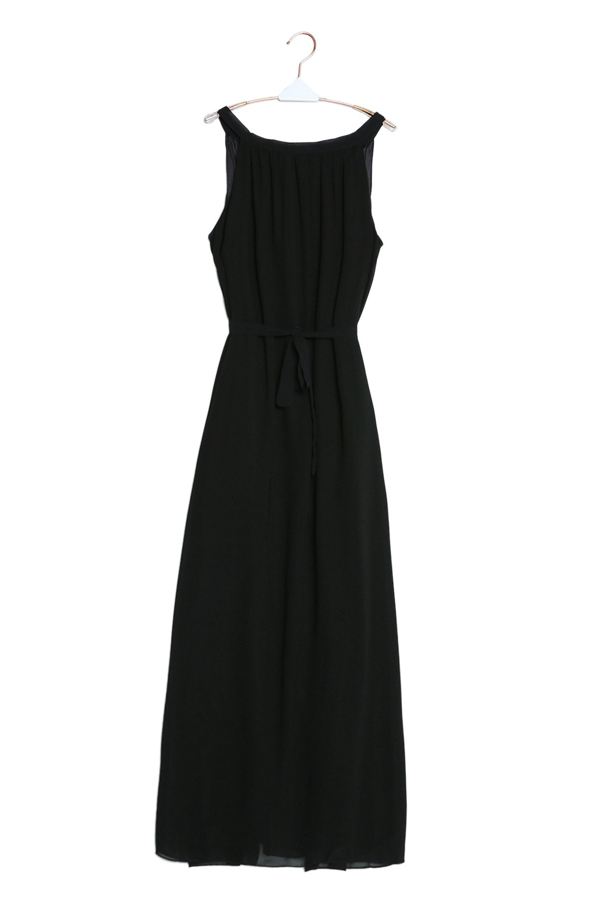 Elegant Spaghetti Strap Sleeveless Solid Color Self Tie Belt Women's Beach Dress - BLACK M