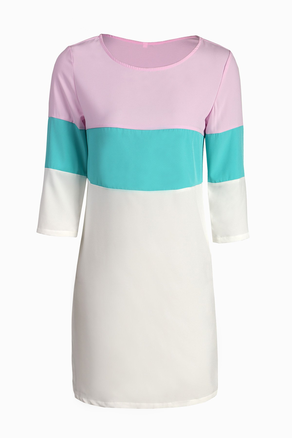 Stylish Round Neck 3/4 Sleeve Color Block Loose Women's Dress - COLORMIX S