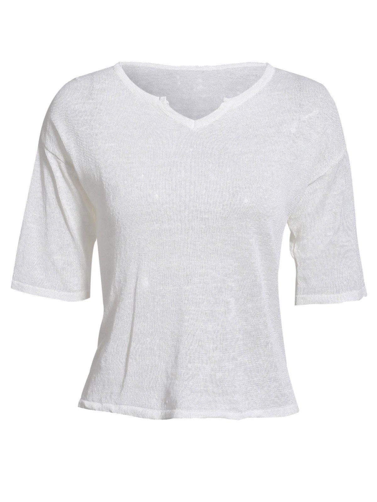 Women's Casual Style Notch Collar Half Sleeve Solid Color T-Shirt
